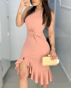 2020 Women Fashion Elegant Lady Dress Party Sweet Workwear Dress Casual One Shoulder Waist Twisted Ruffles Hem Dress Trend Fashion, Fashion Outfits, Fashion Women, Style Fashion, Fashion Pattern, Party Dresses For Women, Ruffle Dress, The Dress, Casual Dresses