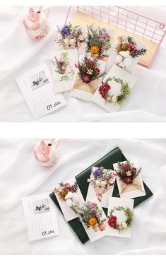 DIY Greeting / Invitation Card Package Includes: – Dried Flower – White Card Paper and glue – Present Box] Size: x x 14 x … Dried Flower Bouquet, Dried Flowers, Birthday Decorations, Flower Decorations, Small Flower Design, Cadre Diy, Diy Bow, Diy Frame, Flower Cards