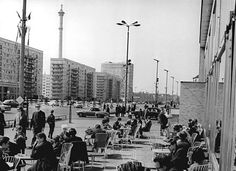 Karl-Marx Allee, Fernsehturm in early stages of construction in the background. Berlin 1960's