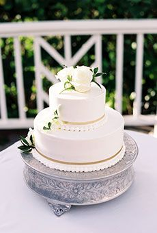 Classic White Cake with Pearl Details & Flowers | Wedding Cake