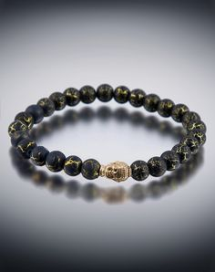 Dyoh Buddha Theravada Collection - 14K Gold with Oxidation Buddha Inset with 8mm Cracked Desert Bead Bracelet DYOH1100-02