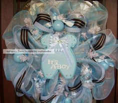 Deluxe It's A Boy Baby Shower Little Blue Outfit Deco Mesh Wreath