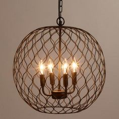 Bronze Globe Farmhouse Chandelier