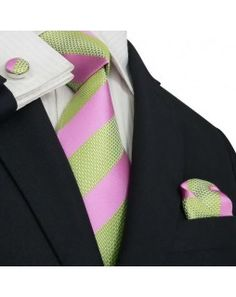 Men's Green & Pink Stripes Silk Tie Set.  Just bought this off EBay, Really excited to match this with my wife's dress choice!