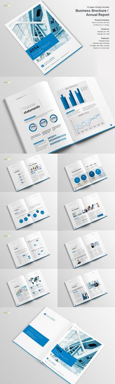 Business Report Brochure 20 Pages A4 Template InDesign INDD - business annual report template