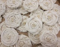Burlap flowers with pearls? Sign us up! #PSB