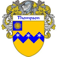 Thompson Coat of Arms (Mantled) namegameshop.com has a wide variety of products with your surname with your coat of arms/family crest, flags and national symbols from England, Ireland, Scotland and Wale