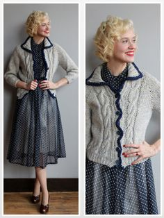 1940s Cardigan // Gray Wool Cable Knit Sweater by dethrosevintage