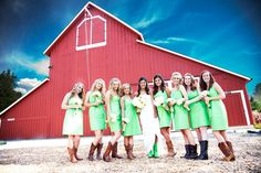 Barn wedding <3....hahaha too freaking cute! watch out girls in my wedding this is what I said we are doing..wearing boots!