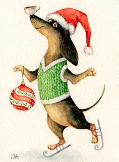 Dachshund having a funny christmas. Illustration Noel, Christmas Illustration, Christmas Animals, Christmas Cats, Funny Christmas, Merry Christmas, Dachshund Art, Daschund, Christmas Drawing
