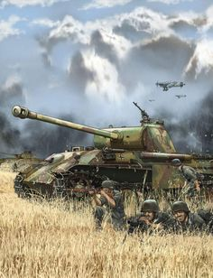 German Panther tank with Stuka dive-bombers overhead. Military Weapons, Military Art, Military History, German Soldiers Ww2, German Army, Panther Panzer, Kargil War, Military Drawings, War Thunder