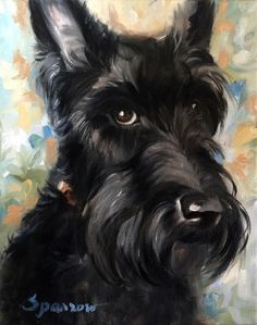"SPARROW Scottish Terrier Scottie dog art painting. That really is the Scottie ""look""."