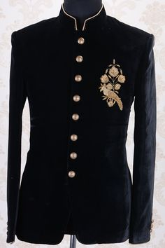 Jodhpuri Suits-Black-Zari Black prince's coat Wedding Dresses Men Indian, Wedding Dress Men, Wedding Suits, Indian Men Fashion, Mens Fashion Suits, Mens Suits, Fashion Pants, Dress Suits For Men, Men Dress