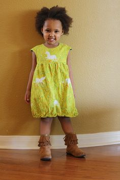 bubble dress (Oliver + S pattern) made by rachel stitched together Little Girl Fashion, Little Girl Dresses, Kids Fashion, Girls Dresses, Cute Dresses, Beautiful Dresses, Cute Outfits For Kids, Girl Doll Clothes, Handmade Clothes