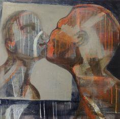 Cathrine Boman - Kysset, Acryl på lerret, 50 x 60 cm