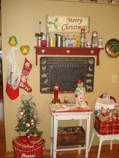 My kitchen. Love a vintage Christmas!