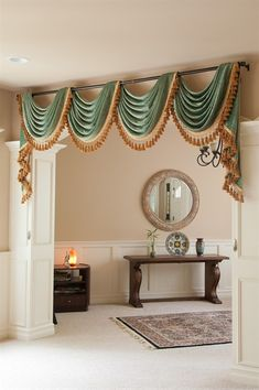 Green Chenille swag valance draperies http://www.celuce.com/p/140/green-chenille-swag-valance-curtain-set