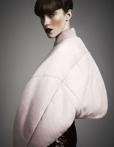 BANGS HAIR TREND Sculptural Fashion - pastel pink bomber jacket with soft padded shape // Acne Foto Fashion, Fashion Art, Editorial Fashion, Fashion Beauty, Womens Fashion, Fashion Design, Fashion Trends, Fashion 2018, Fashion Models