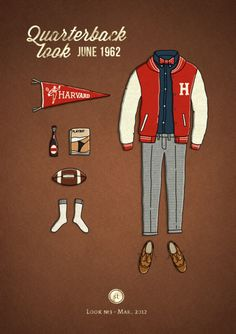 """pretentiousdick: """" """"Take a rest from fashion photos""""…and enjoy these illustrations instead. Russian free lance artist, Andrew Mashanov, teams up with clothiers and menswear's best too compile look. Estilo Ivy, Prep Style, My Style, Ivy League Style, Preppy Men, Outfit Grid, Fashion Collage, Mens Style Guide, Old Magazines"""