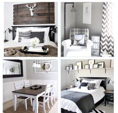 Gray + wood + black and white