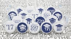 Class of 2017 Graduation Party Favor Stickers, Set of 324 (Blue)