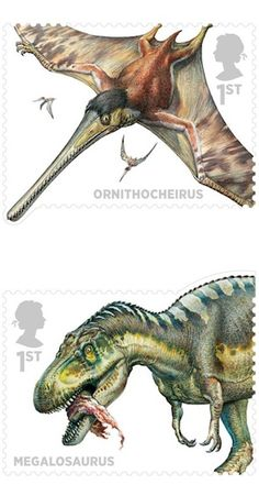 Ornithocheirus and Megalosaurus, palaeo-artist John Sibbick – Royal Mail 2013 commemorative stamps celebrating 200 years of prehistoric animal studies in the UK Real Dinosaur, Dinosaur Art, Prehistoric World, Prehistoric Creatures, Uk Stamps, Dinosaur Pictures, Jurassic World Dinosaurs, Extinct Animals, All Nature