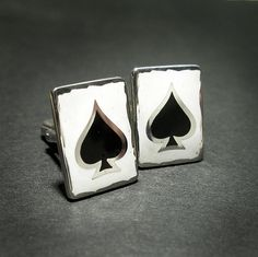 ACE OF SPADES Enamelled Silver Square Cufflinks by Norman Man Jewellery also available in www.silverchamber.co.uk