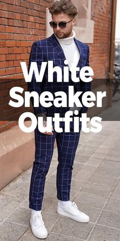The white sneakers are something of a fashion mystery.Thus it is a good decision to invest in a good pair of white sneakers that may last you a lifetime. White Jacket Outfit, Blue Suit Jacket, Blue Suit Men, Navy Blue Suit, Black Suits, Best White Sneakers, Suits And Sneakers, Sneakers Outfit Men, White Shoes Men