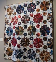"""""""happy father's day"""" by janet elwin, upcycled star quilt made of men's ties & shirtings, from the file under fiber blog"""