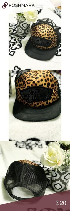 """NWOT. Vans hat Leopard vans adjustable hat. Has phrase """"vans off the wall"""" on front. Brand new, never worn. Trying to down size my hat collection so this beauty needs a new home. I will also be listing my matching leopard vans size 9 soon if you are interested lmk. Will accept best offer(: Vans Accessories Hats"""