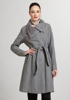 VINCE CAMUTO Double-Breasted Melton Wool Coat