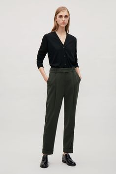 COS image 13 of Tailored pleat trousers in Olive Green