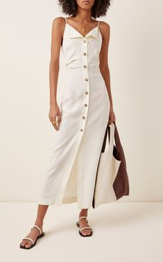 Paz Crepe Buttoned Midi Dress by Nanushka   Moda Operandi