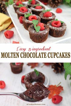These easy Molten Chocolate Cupcakes are a chocolate lovers dream. Rich fudgy chocolate surrounds a liquid chocolate center that you'll want to eat with a spoon to get every single drop. Easy Cupcake Recipes, Homemade Cake Recipes, Pound Cake Recipes, Easy Desserts, Delicious Desserts, Dessert Recipes, White Chocolate Desserts, Molten Chocolate, Chocolate Cupcakes