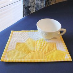 $12 Made to Order, My most popular item, Yellow Sunshine Mug Rug Snack Mat Large Coaster by IsabellasWhimsy