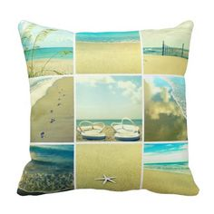 Beach Photo Collage Flip Flop Pillow: http://www.beachblissdesigns.com/2015/09/beach-photo-collage-pillows.html