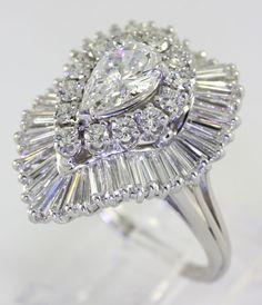 Stunning Pear Round Baguette 4 05ct Diamond Platinum Ballerina Ring 95ct Center | eBay
