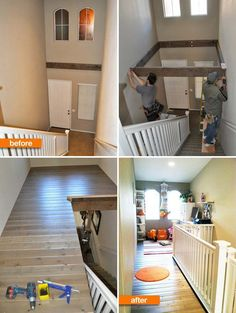 Convert a dead space above a staircase to an amazing loft for working and playing.