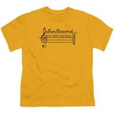 Sun Records/Music Staff Short Sleeve Youth 18/1 in