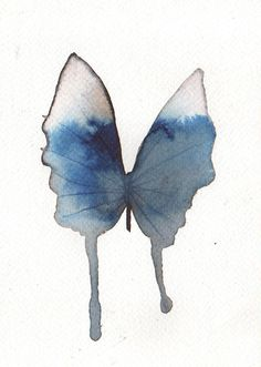 prussian blue and blue grey butterfly. original watercolour painting