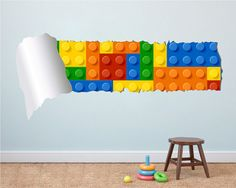 Building Blocks Torn on Wall - Bricks on Wall - Cracked wall sticker - Bricks wall decal - Nursery Stickers - Kids Stickers