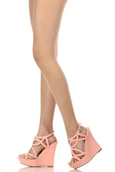 a9d68a02e83 Peach Faux Leather Cut Out Sling Back Wedges   Cicihot Wedges Shoes Store Wedge  Shoes