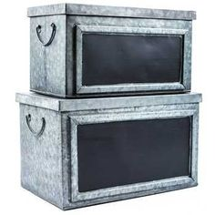 Galvanized Tin Box Set with Chalkboard Labels