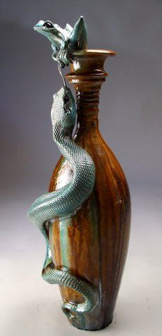 Mitchell Grafton - Snake with Frog Ceramic Sculpture ( www ...
