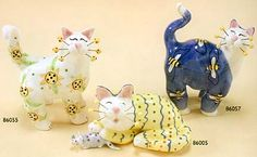 whimsiclay fancy felines cats
