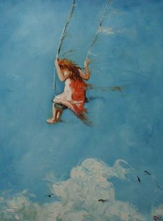 turquoise  swing sky art by roz