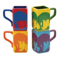 THE BEATLES  RETRO POP ART COLOURS COFFEE MUG CUP AND COASTER SET NEW