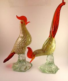 Beautiful Vintage Murano HandBlown Italian Glass Rooster set. Check it out by clicking the picture!