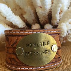 Vintage tooled Leather Cuff Bracelet Hand Stamped by PunchVintage