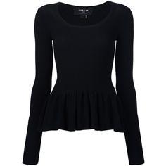 Paule Ka peplum hem jumper ($570) ❤ liked on Polyvore featuring tops, sweaters, black, paule ka, peplum jumper, jumper top, jumpers sweaters and peplum tops